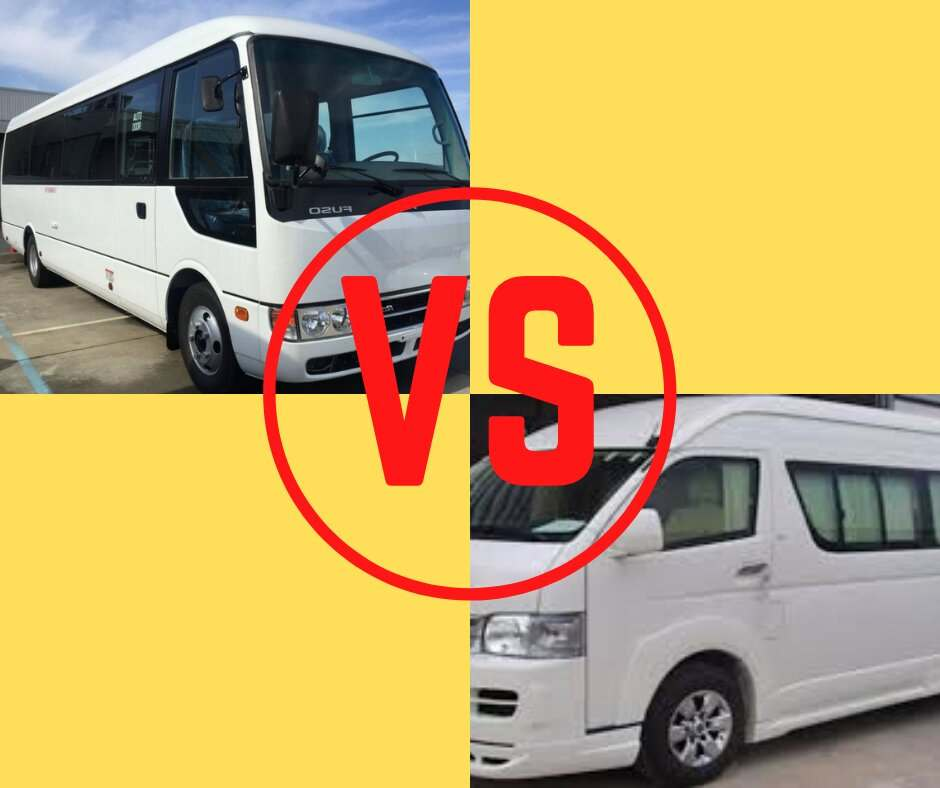 picture of bus and van with a vs sign in between