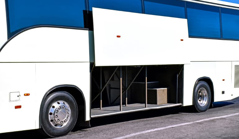 picture showing the storage spaces in minibus
