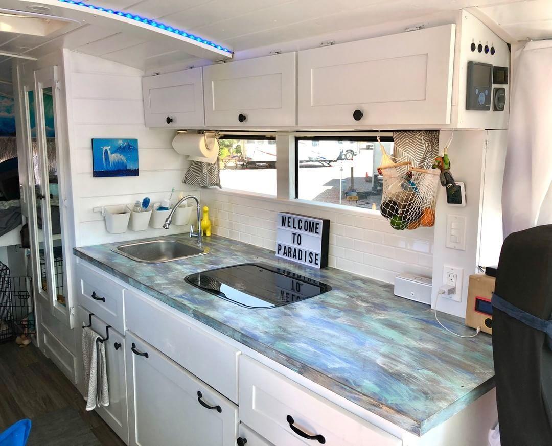 Kitchen inside bus